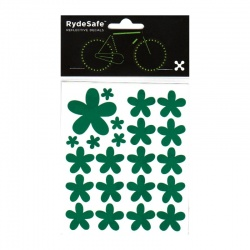RydeSafe Reflective Bike Decals Flowers Kit (green)