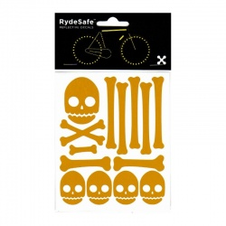 RydeSafe Reflective Bike Decals Skull & Bones Kit yellow