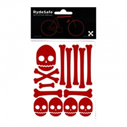 RydeSafe Reflective Bike Decals Skull & Bones Kit (red)