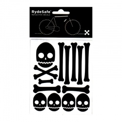 RydeSafe Reflective Bike Decals Skull & Bones Kit (black)