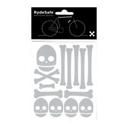 RydeSafe Reflective Bike Decals Skull & Bones Kit (silver/white)