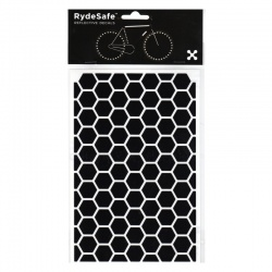 RydeSafe Bike Decals Hexagon - Reflektierende Sticker (schwarz / Medium)