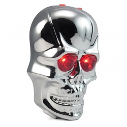 Laser Skull LED Rear Light (silver/chrome)