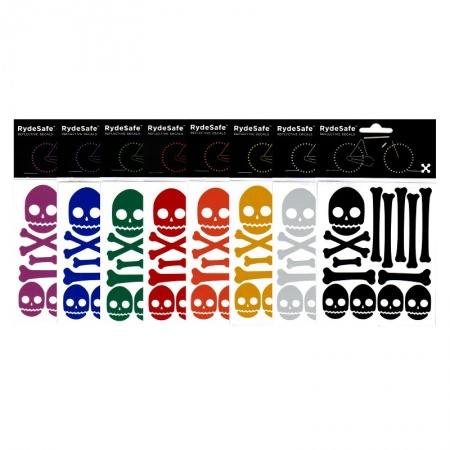 RydeSafe Reflective Bike Decals Skull & Bones Kit