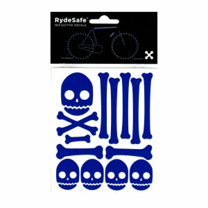 RydeSafe Reflective Bike Decals Skull & Bones Kit -...
