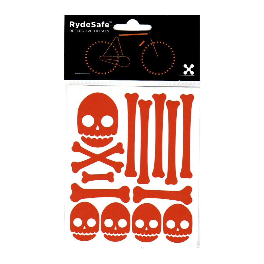 RydeSafe Reflective Bike Decals Skull & Bones Kit - Reflektierende Totenkopf Sticker (orange)